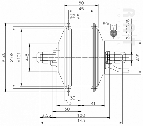 36Volt 250Watt mini-motor 185R