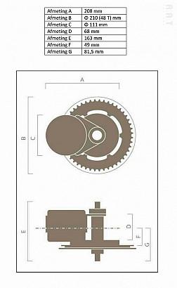 Ombouwset 004 250 Watt middenmotor set 36Volt met LCD-display