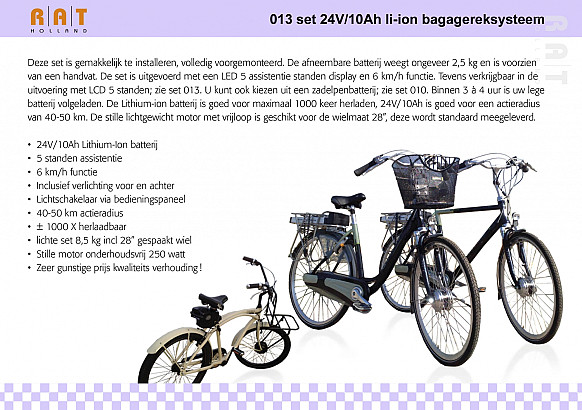 Ombouwset 013 Li-ION 24V/10Ah bagage-drager set met LCD-display